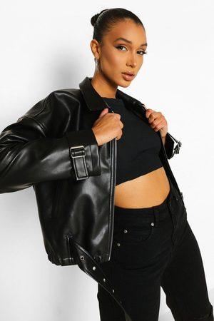Boohoo Womens Wide Sleeve Faux Leather Moto Jacket - - 4