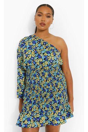Boohoo Womens Plus Shirred One Shoulder Mini Dress - - 12