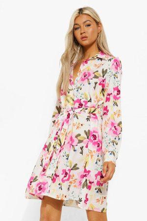 Boohoo Women Printed Dresses - Womens Tall Woven Floral Print Tie Waist Shirt Dress - - 2