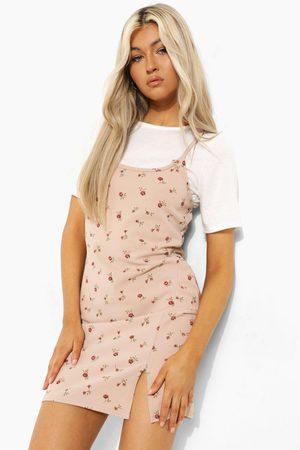 Boohoo Women Bodycon Dresses - Womens Tall 2-In-1 Floral Print Slip Dress - - 2