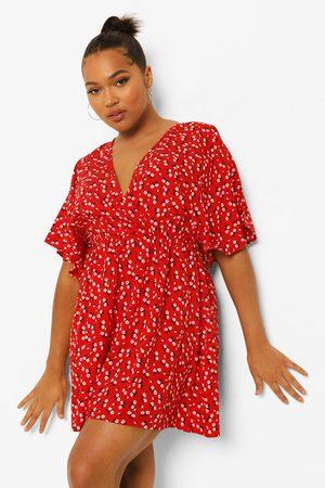 Boohoo Womens Plus Ditsy Floral Wrap Skater Dress - - 12
