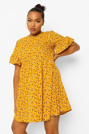 Boohoo Women Printed Dresses - Womens Plus Woven Ditsy Floral Smock Dress - - 12
