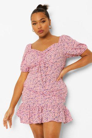 Boohoo Womens Plus Ditsy Floral Frill Hem Mini Dress - - 12