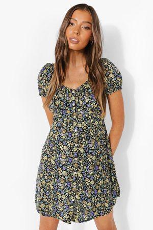 Boohoo Women Bodycon Dresses - Womens Floral Button Through Mini Dress - - S