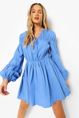 Boohoo Womens Tie Front 3/4 Frill Sleeve Smock Mini Dress - - 4