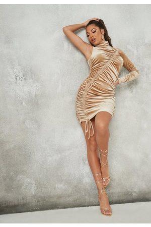 Missguided Beige Velvet Ruched One Shoulder Mini Dress