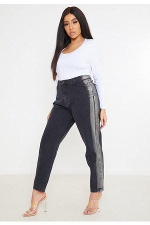 Missguided Women Jeans - Plus Size Bleach Side Panel Mom Jeans