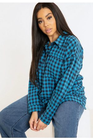 Missguided Women Long sleeves - Plus Size Blue Oversized Plaid Shirt