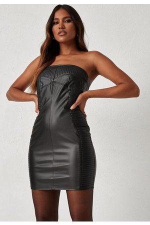 Missguided Dani Michelle X Faux Leather Bandeau Mini Dress