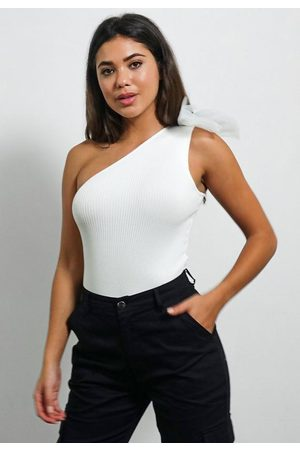 Missguided One Shoulder Bow Knit Bodysuit
