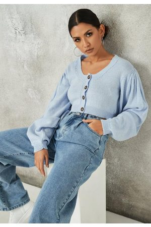 Missguided Basic Puff Sleeve Cropped Knit Cardigan