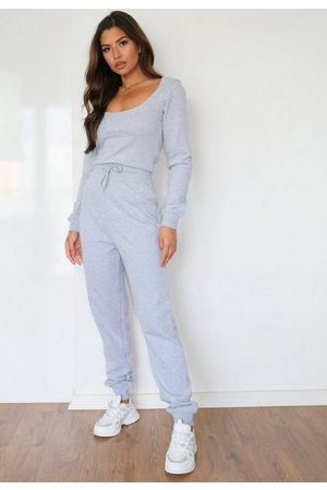 Missguided Women Playsuits - Tall Gray Scoop Neck Jogger Romper