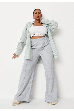Missguided Plus Size Gray Pintuck Wide Leg Joggers