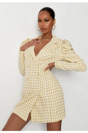 Missguided Women Blazers - Gingham Puff Sleeve Blazer Dress