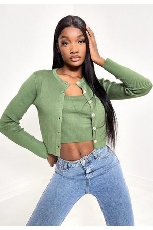Missguided Olive Co Ord Crew Neck Knit Cardigan
