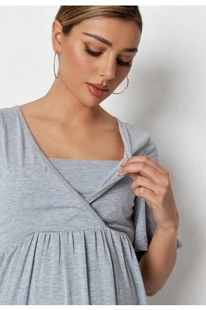 Missguided Women Wrap tops - Gray Wrap Maternity Nursing Top