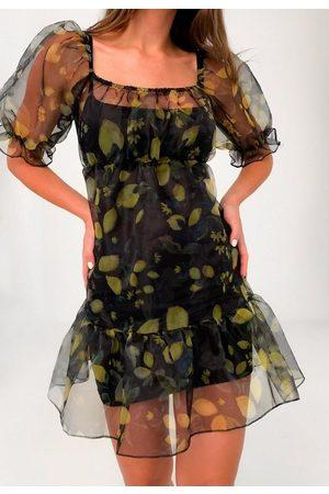Missguided Lemon Print Organza Tiered Smock Dress