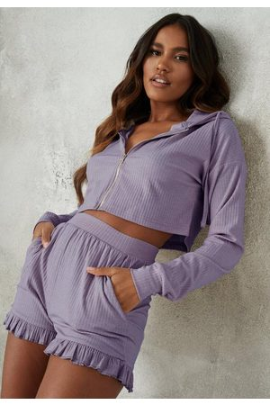 Missguided Soft Rib Hoodie And Frill Shorts Loungewear Set