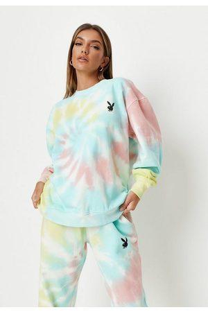 Missguided Playboy X Pastel Tie Dye Oversized Crew Neck Sweatshirt