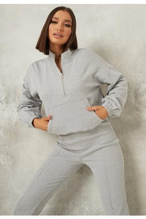Missguided Gray Co Ord Zip Front Pocket Sweatshirt