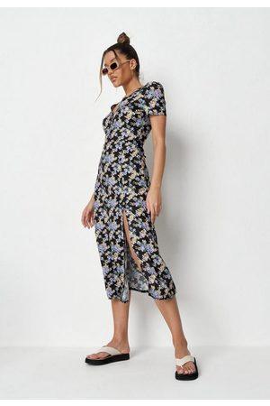 Missguided Floral Half Button Midi Tea Dress