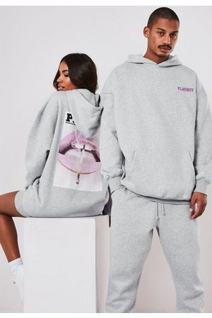 Missguided Women Hoodies - Playboy X Gray Oversized Lip Print Hoodie