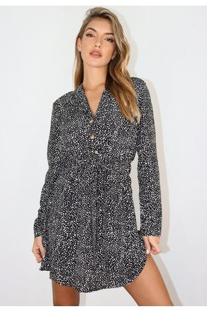 Missguided Dalmatian Tie Waist Shirt Dress