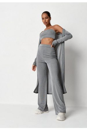 Missguided Women Bras - Gray Cardigan Wide Leg And Bralette 3 Piece Co Ord Set