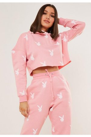 Missguided Women Hoodies - Playboy X Bunny Repeat Print Cropped Hoodie