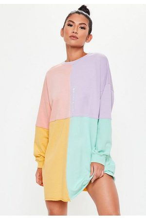 Missguided Petite Pink Oversized Colorblock Sweater Dress