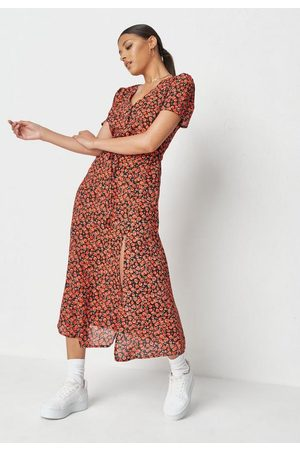 Missguided Women Printed Dresses - Floral Print Half Button Midi Tea Dress