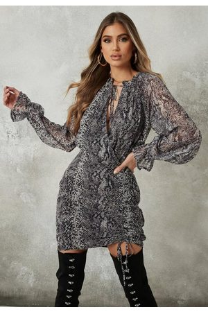 Missguided Gray Snake Print High Neck Ruched Mini Dress