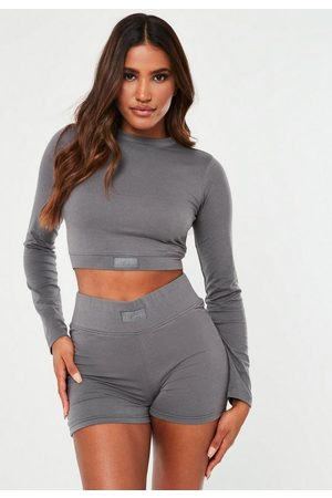 Missguided Gray Msgd Long Sleeve Crop Top