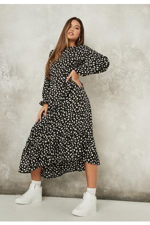 Missguided Women Printed Dresses - Dalmatian Print Ruffle Hem Midi Smock Dress
