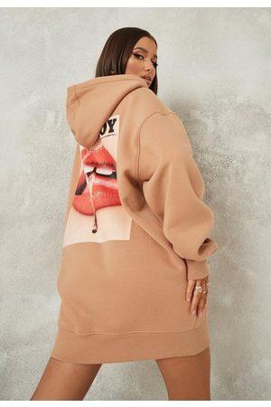 Missguided Women Casual Dresses - Playboy X Magazine Print Oversized Hoodie Dress