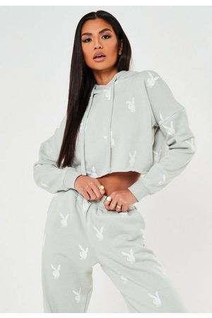 Missguided Playboy X Gray Repeat Print Cropped Hoodie