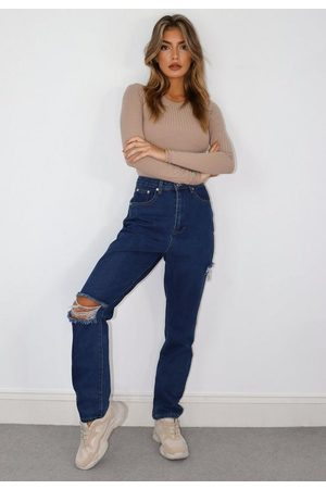 Missguided Petite Blue Thigh And Knee Split Straight Leg Jeans