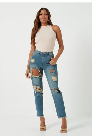 Missguided Vintage Wash High Rise Ripped Mom Rigid Jeans