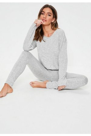 Missguided Gray Snit Long Sleeve Lounge Tracksuit