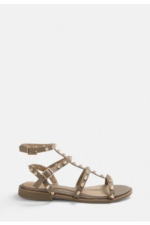 Missguided Women Sandals - Taupe Studded Gladiator Sandals