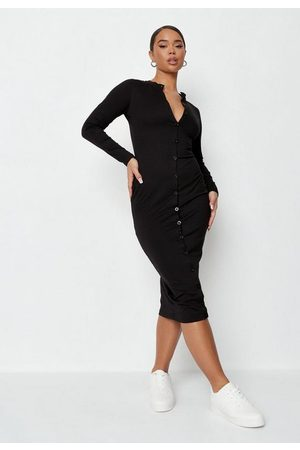 Missguided Grandad Collar Button Long Sleeve Midi Dress
