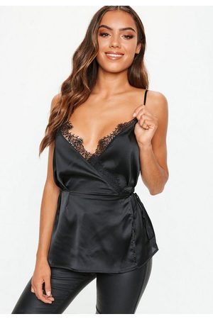 Missguided Women Camisoles - Lace Trim Wrap Cami Top