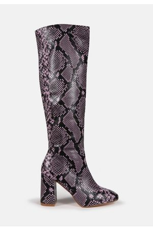 Missguided Snake Knee High Mid Heel Boots