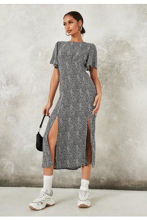 Missguided Dalmatian Print Flutter Sleeve Midi Dress