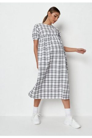 Missguided Plaid Puff Sleeve Maternity Midi Smock Dress