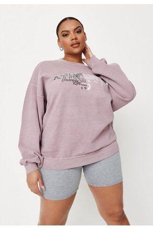 Missguided Women Sweatshirts - Plus Size Washed Athletic Spliced Graphic Sweatshirt