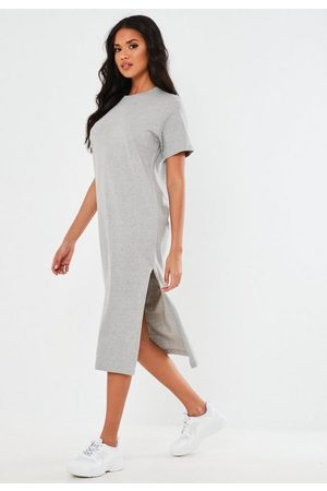Missguided Women Midi Dresses - Gray Basic T Shirt Midi Dress