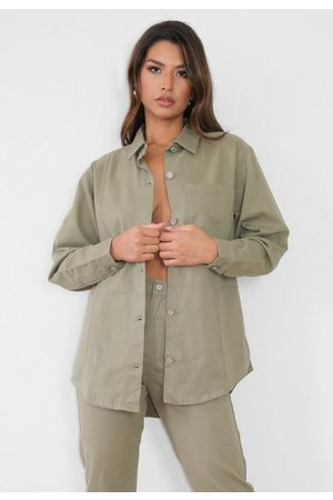 Missguided Khaki Co Ord Utility Denim Shirt