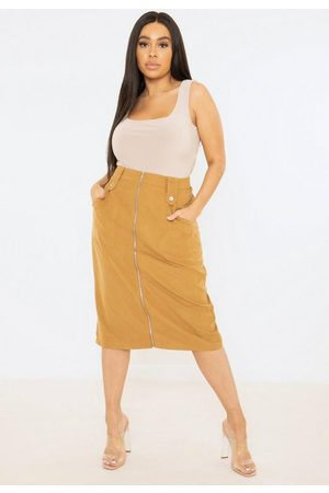 Missguided Plus Size Zip Through Midi Skirt