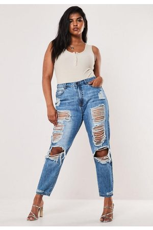 Missguided Plus Size Stonewash Distressed Jeans